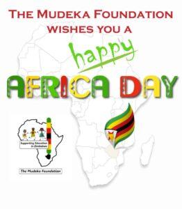 The Mudeka Foundation wishes you a happy Africa Day, over a map of Africa and the Mudeka Foundation Logo